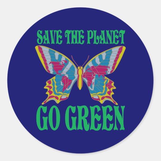 Ahorre el planeta van verde pegatina redonda