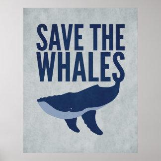 Ahorre el poster de las ballenas póster