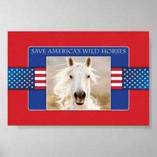 Ahorre el poster de los caballos salvajes de Améri