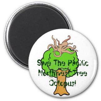¡Ahorre el pulpo del árbol! Imán Redondo 5 Cm