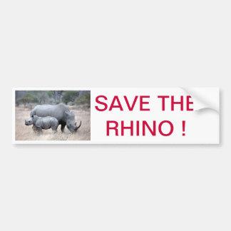 ¡Ahorre el rinoceronte Pegatina De Parachoque