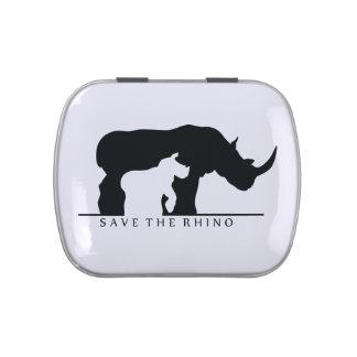 Ahorre el rinoceronte (el ver blanco.) jarrones de caramelos