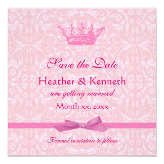 Ahorre el rosa de la corona de la fecha invitacion personalizada