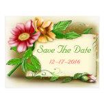 Ahorre el rosa de la fecha y la postal floral verd