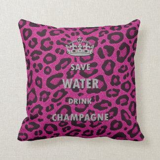 Ahorre el rosa del estampado leopardo del champán  cojín