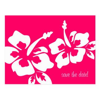 Ahorre el rosa del hibisco del boda de playa de la postales