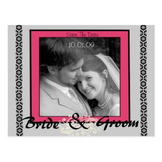 Ahorre el rosa y el gris de la fecha con su foto tarjeta postal