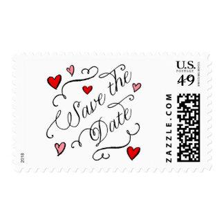 Ahorre el sello de fecha con los corazones