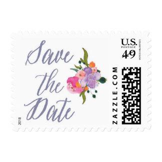 Ahorre el sello de la acuarela de la fecha