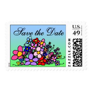 Ahorre el sello de la flor de la fecha