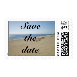 Ahorre el sello de la playa de la fecha