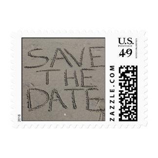 Ahorre el sello de la postal de la fecha escrito