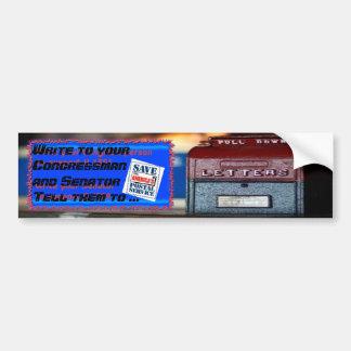 Ahorre el servicio postal de América Etiqueta De Parachoque