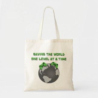 Ahorre el tote del mundo bolsa tela barata