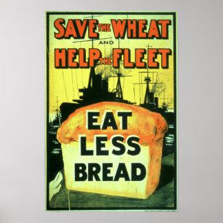 """""""Ahorre el trigo para ayudar a la flota: Coma meno Póster"""