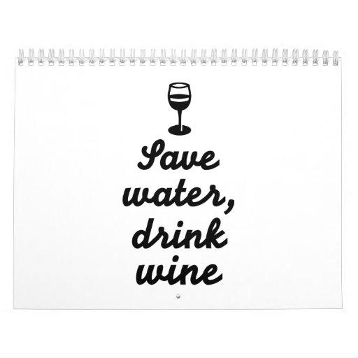 Ahorre el vino de la bebida del agua calendario