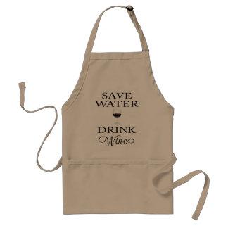 Ahorre el vino de la bebida del agua delantal