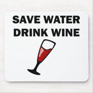 Ahorre el vino de la bebida del agua tapete de raton