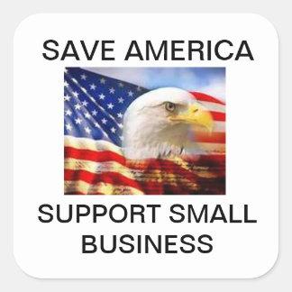 Ahorre empresa de la ayuda de América la pequeña Pegatina Cuadrada