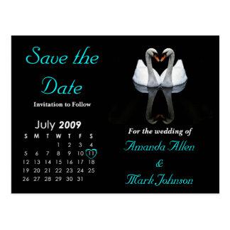 Ahorre en julio de 2009 la fecha, casando la tarjetas postales