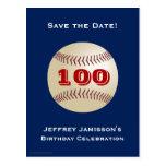Ahorre la 100a postal del béisbol del cumpleaños