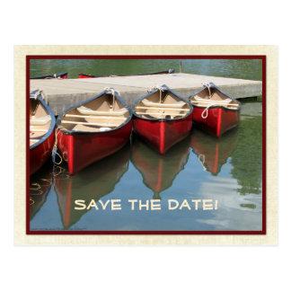 Ahorre la 90.a postal de las canoas del rojo del c