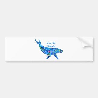 Ahorre la ballena jorobada pegatina de parachoque