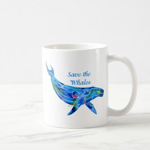 Ahorre la ballena jorobada taza básica blanca