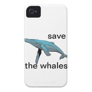 ahorre la caja del teléfono de las ballenas funda para iPhone 4