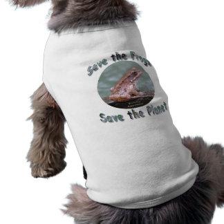 Ahorre la camisa de bronce del mascota de la rana prenda mascota