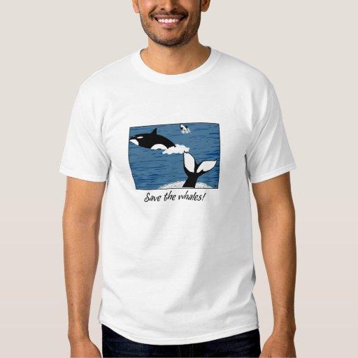 Ahorre la camiseta de la ballena playeras