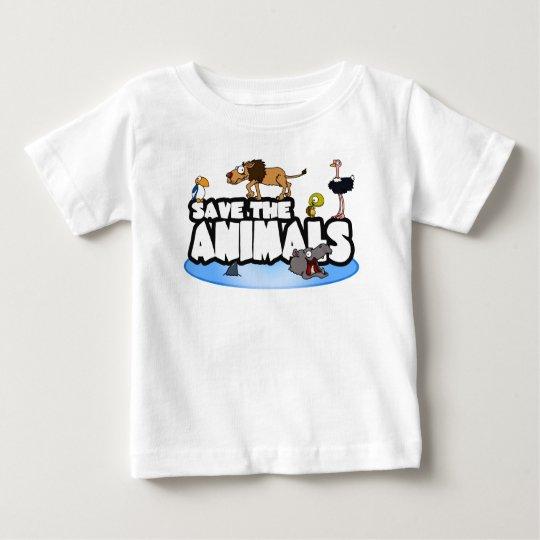Ahorre la camiseta del bebé de los animales