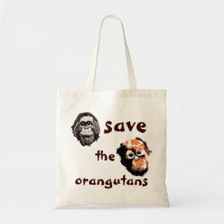 Ahorre la caridad de la fauna de los orangutanes bolsa tela barata