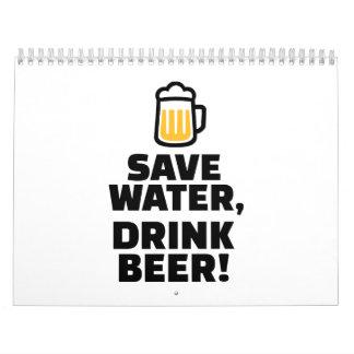 Ahorre la cerveza de la bebida del agua calendarios