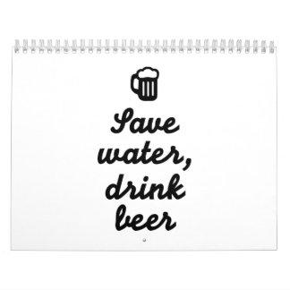Ahorre la cerveza de la bebida del agua calendarios de pared