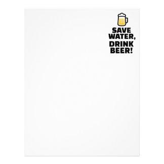 Ahorre la cerveza de la bebida del agua plantilla de membrete
