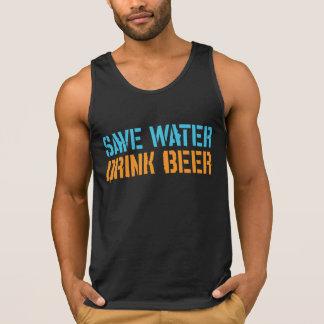 Ahorre la cerveza de la bebida del agua playera de tirantes