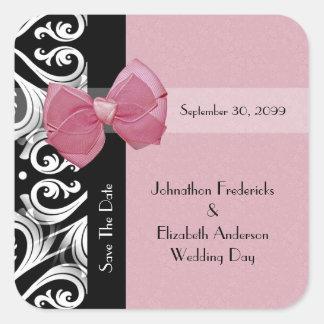 Ahorre la cinta parisiense del rosa del boda de la pegatina cuadrada