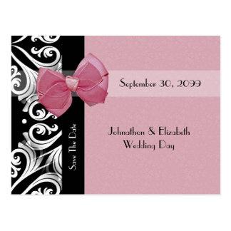 Ahorre la cinta parisiense del rosa del boda de la tarjeta postal