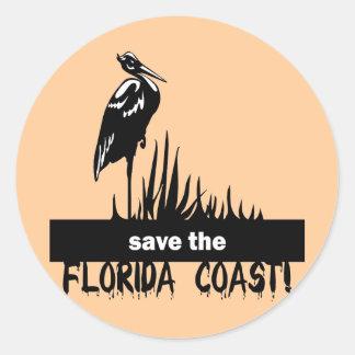 Ahorre la costa de la Florida Etiqueta Redonda