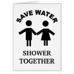 Ahorre la ducha del agua junto cardan felicitaciones