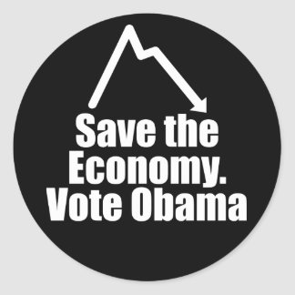 Ahorre la economía, voto Obama Pegatina Redonda