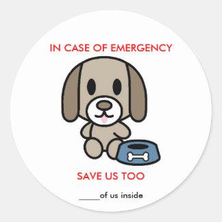 Ahorre la emergencia del perro pegatina redonda