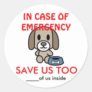 Ahorre la Emergencia-Donación casera del perro Pegatina Redonda