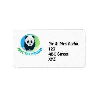 Ahorre la etiqueta de Avery de las pandas Etiqueta De Dirección