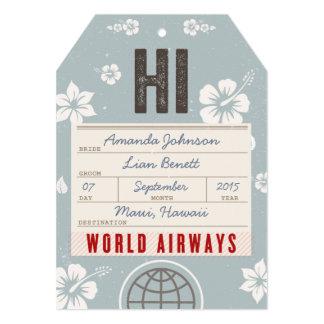 """Ahorre la etiqueta Hawaii del equipaje del correo Invitación 5"""" X 7"""""""