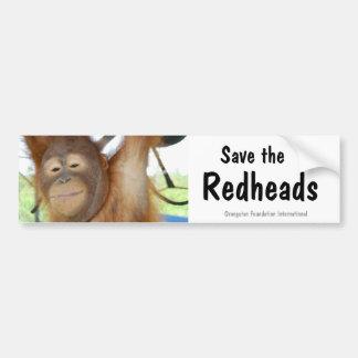 Ahorre la fauna del orangután de los Redheads Etiqueta De Parachoque