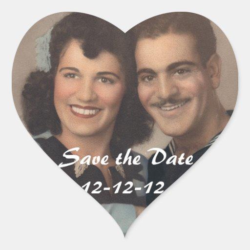 Ahorre la fecha 12-12-12 pegatina en forma de corazón
