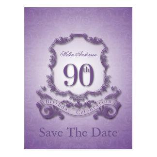 Ahorre la fecha - 90.o cumpleaños personalizado tarjeta postal