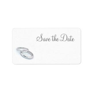 Ahorre la fecha/a las alianzas de boda de plata etiquetas de dirección